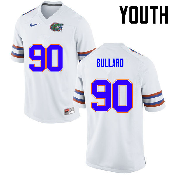 Youth Florida Gators #90 Jonathan Bullard College Football Jerseys-White